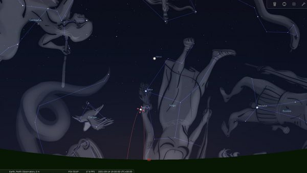 Mercury's greatest elongation in the East on the evening of 14/09/2021. Image Credit: Stellarium
