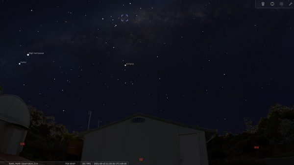 Ptolemy Cluster on the 15/09/21 at 09:00pm. Image Credit: Stellarium