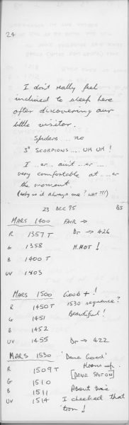Astronomers nightly notes. Image Credit: Perth Observatory