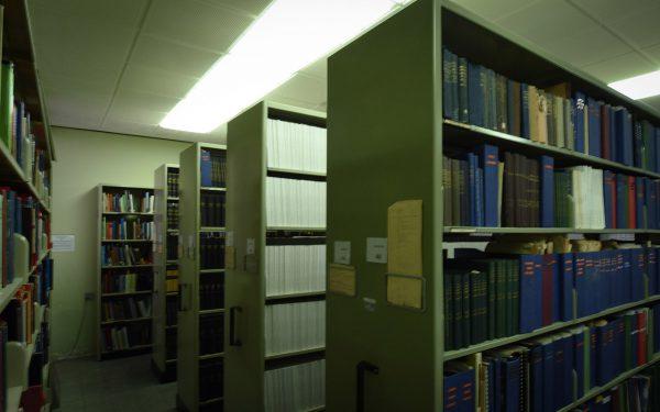 Bookshelves of astronomy books. Image Credit: Matt Woods