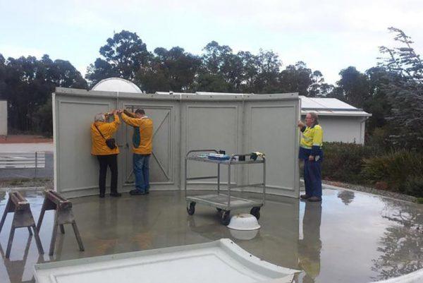 Our volunteers building the Jubilee Telescope Dome. Image Credit: Geoff Scott
