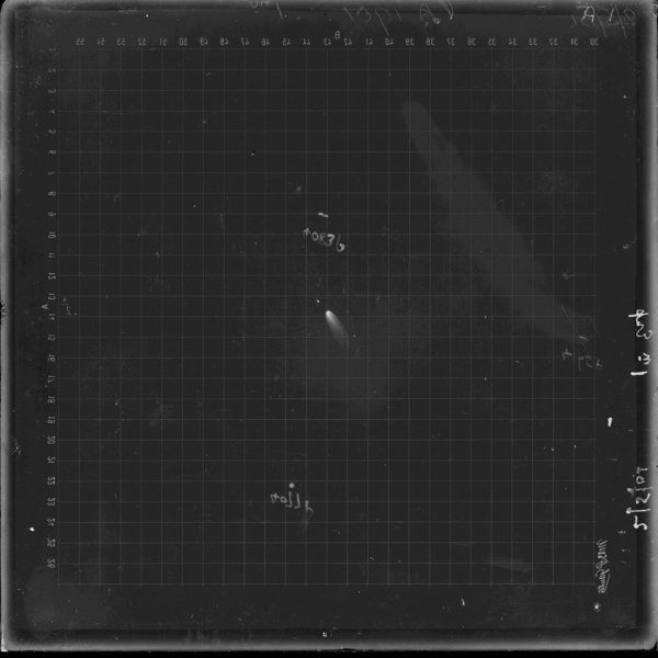 Glass plate of Comet 1901a taken at Perth Observatory. Image Credit: Dr Craig Bowers