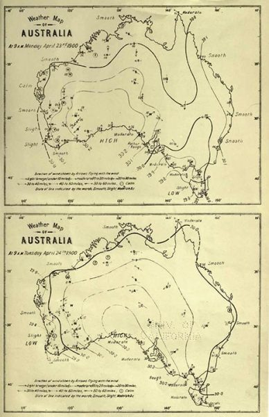 One of Cooke's weather maps. Image Credit: Perth Observatory