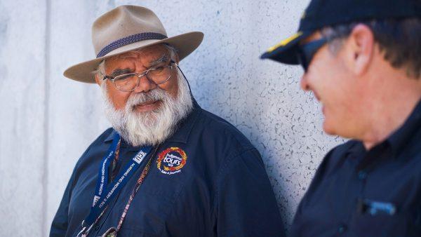 Dr Noel Nannup with Photographer John Goldsmith. Image Credit: Edwin Sitt