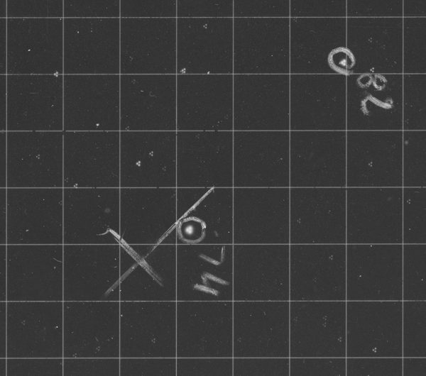 Enlargement of close to the centre of the 1st Perth Astrographic Catalogue plate showing that there are actually 3 images of each star. Image Credit: Dr Craig Bowers