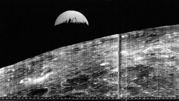 First view of earth from the moon August 23 1966. Image Credit: NASA
