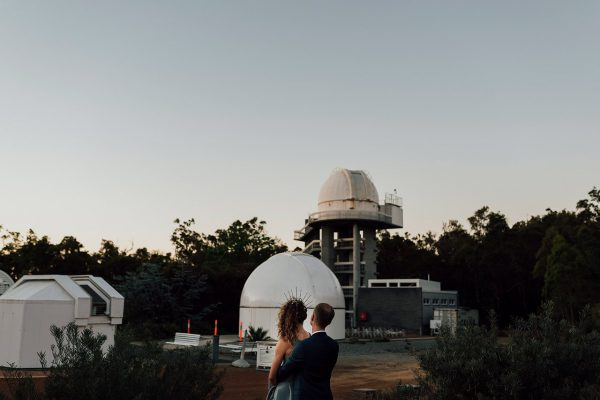 Francis and Matt looking at the Telescope Area at dusk. Image Copyright: Michelle Lucking (Lucking Photography)