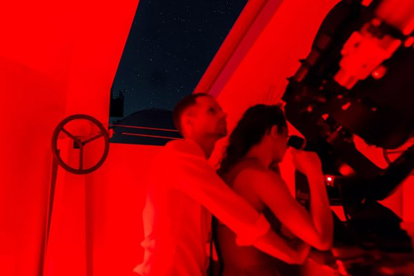 Francis and Matt looking through the Meade 14
