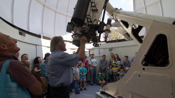 Greg talking about the Astrographic Telescope. Image Credit: Matt Woods