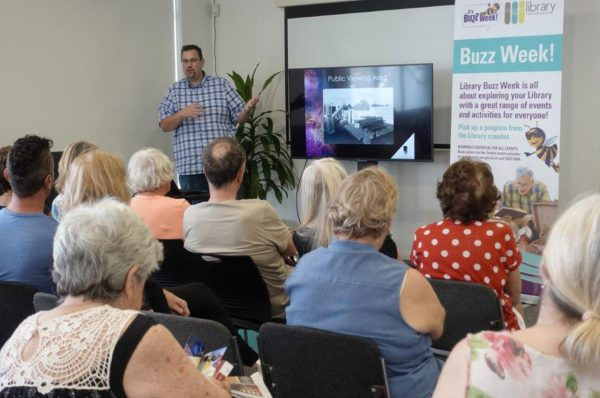 Volunteer Matt Woods giving his History Of the Perth Observatory talk to Victoria Park Library. Image Credit: Victoria Park Library