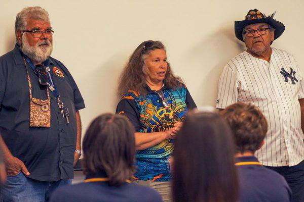 Noel Nannup, Vivienne Hansen, Morton Hansen talking to Follow the Dream students. Image Credit: Edwin Sitt