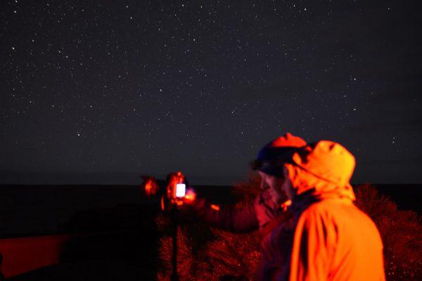 People taking photos of the night sky. Image Credit: Matt Woods
