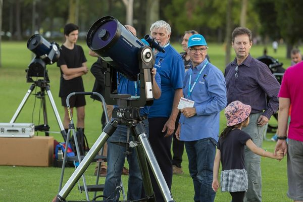 Perth Observatory Volunteers and their telescopes at Astrofest 2019. Image Credit: Astronomy WA Astrofest