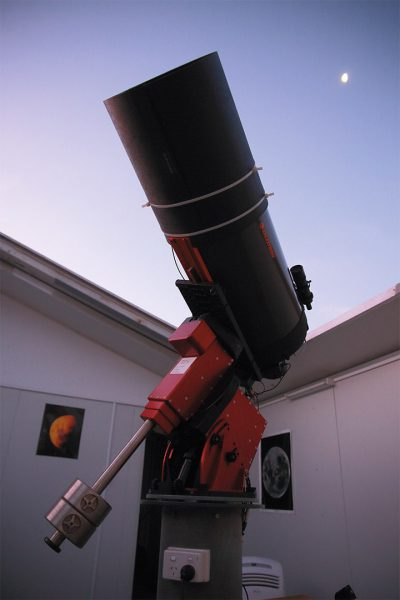 The R-COP telescope and the Moon. Image Credit: Roger Groom