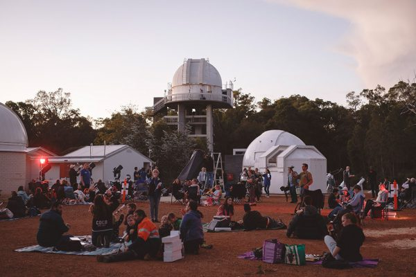 People attending the ABC Stargazing Live record attempt up at the telescope viewing area. Image Credit: Zal Kanga-Parabia