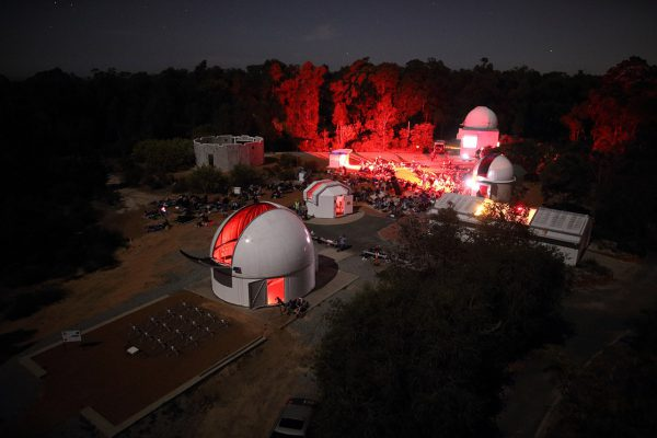 Our viewing area from the Lowell Telescope Dome during our ABC stargazing live event. Image Credit: Roger Groom