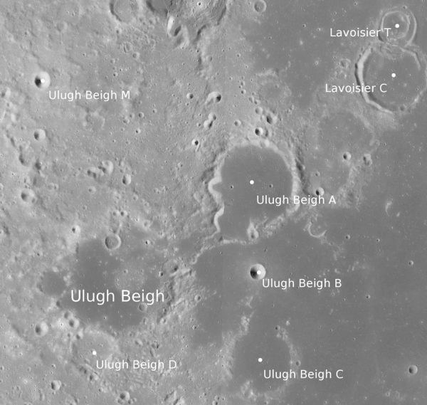 Moon craters named after Ulugh Beigh. Image Credit: NASA