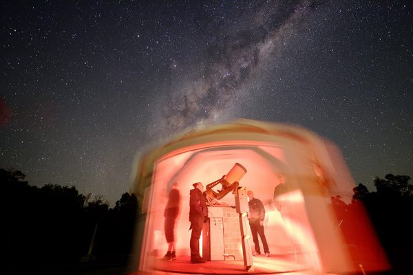 Viewing the night sky in the Octagonal Telescope Dome. Image Credit: Andrew Lockwood